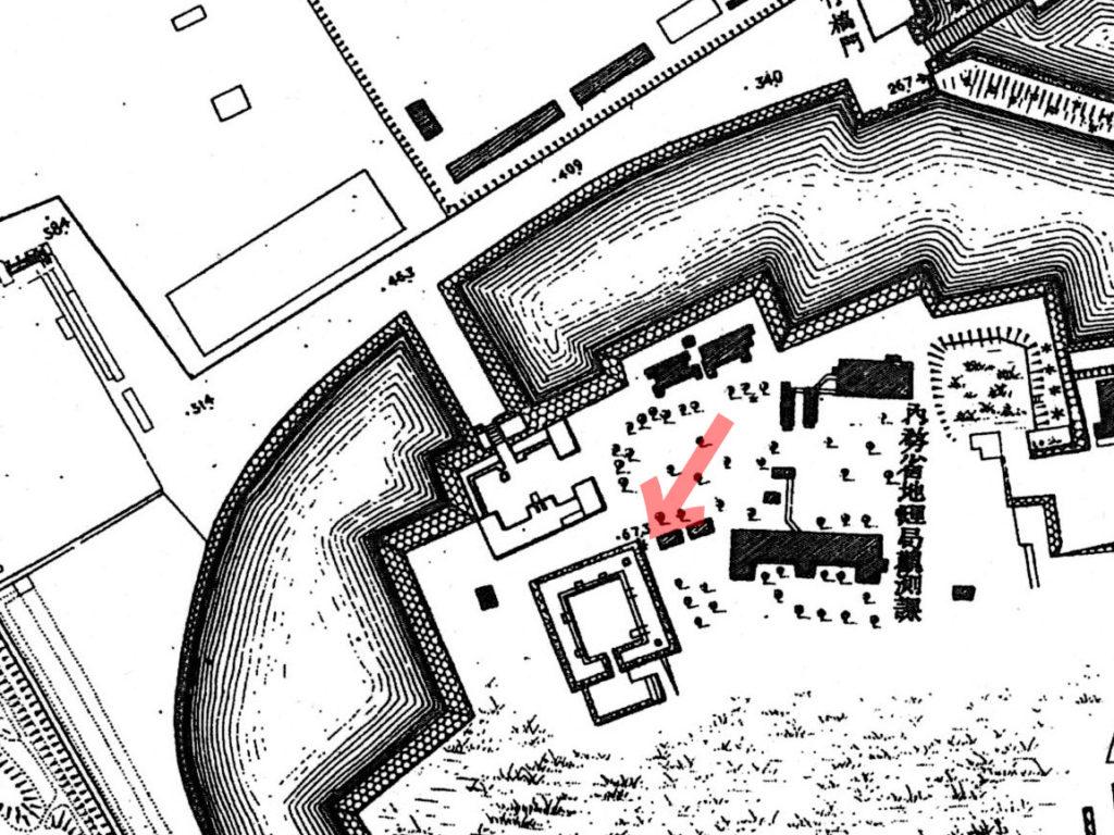 古地図:明治20年(1887年)東京実測図より天守台