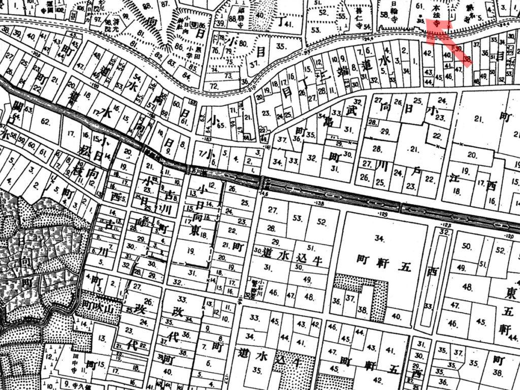 古地図:明治20年(1887年)東京実測図より本法寺に几号31.5尺の表示。