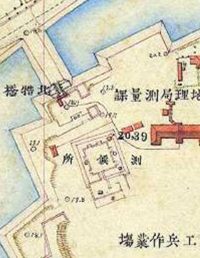 明治9-17年(1876-84年)5千分の1東京図測量原図より天守台
