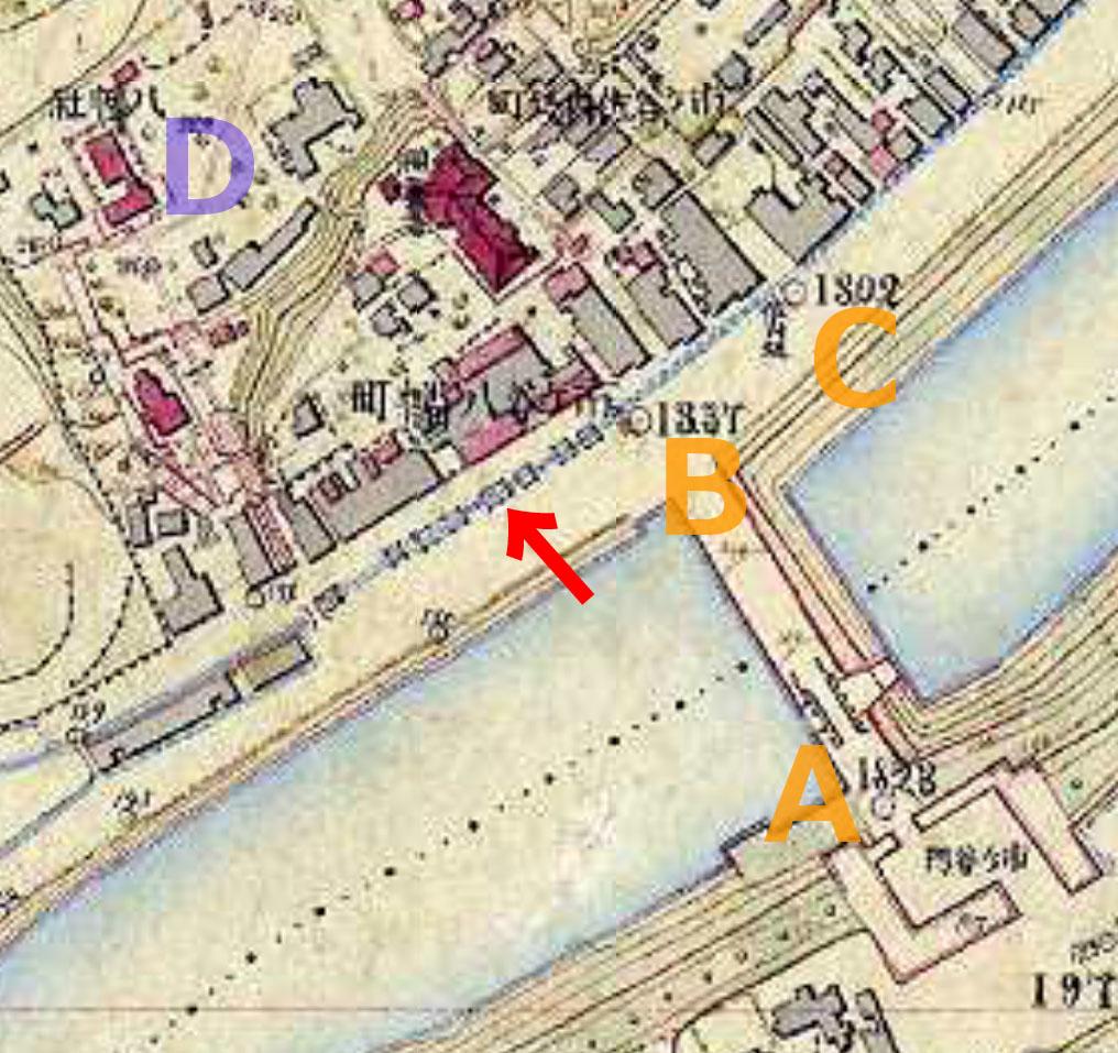 明治9-17年(1876-84年)5千分の1東京図測量原図より市ヶ谷亀ヶ岡八幡宮