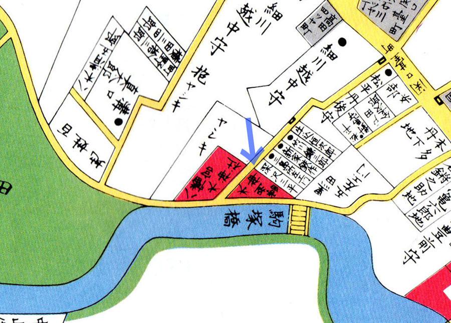 古地図:江戸切絵図(嘉永七年1854年尾張屋刊江戸切絵図より)