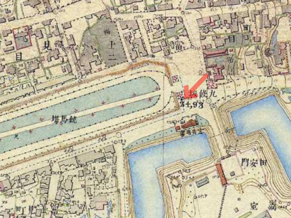 明治9-17年(1876-84年)5千分の1東京図測量原図より九段坂周辺。