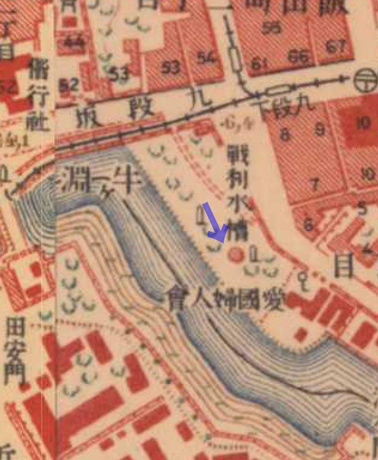 大正5-10年(1917-21年)陸地測量部2万5千分の1地形図より戦利水槽。