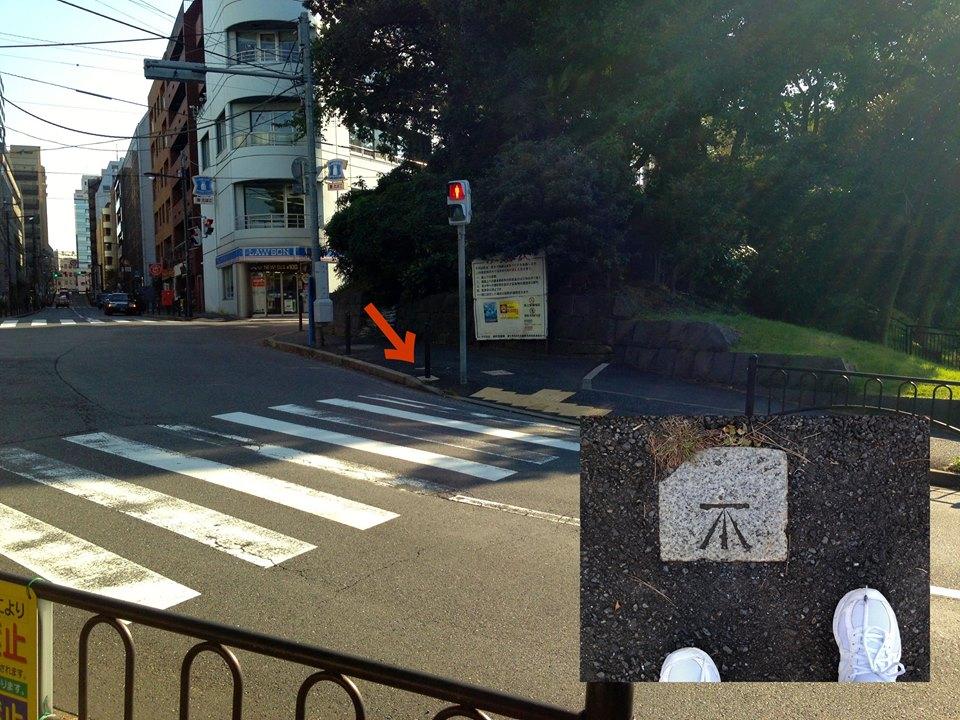 新宿区市ヶ谷新見付交差点の几号水準点