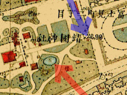 明治9-17年(1876-84年)5千分の1東京図測量原図より靖国神社