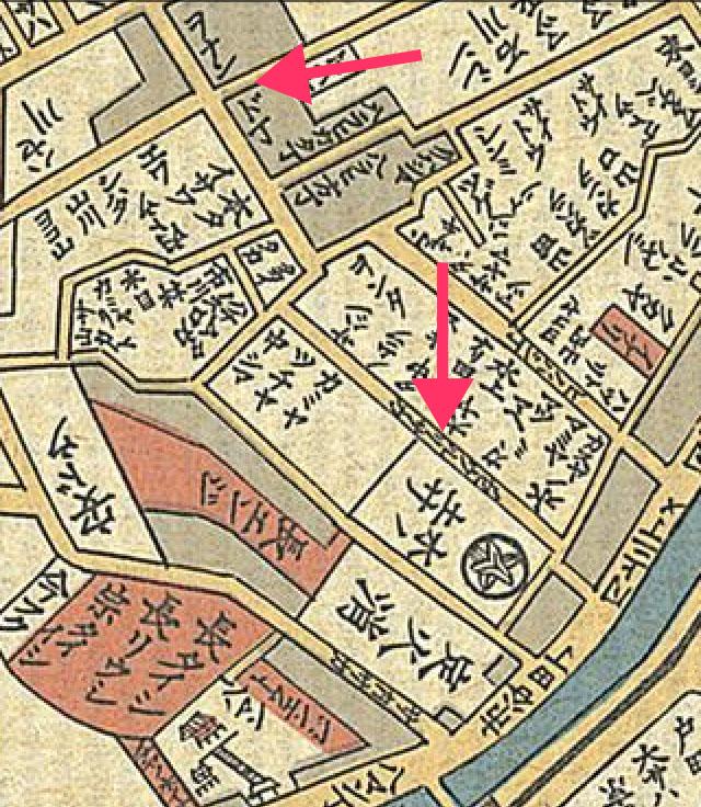 古地図:天保十四年(1843年)岡田屋版 御江戸大絵図より浄瑠璃坂