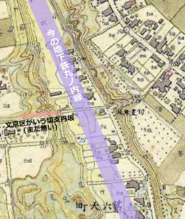 古地図:切支丹坂 明治7-17年 5千分の1東京図測量原図より