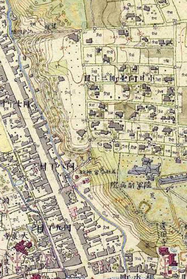 明治9-17年(1876-84年)5千分の1東京図測量原図より陸軍副病院