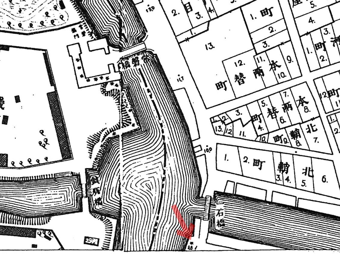 古地図:明治20年(1887年)東京実測図より一石橋