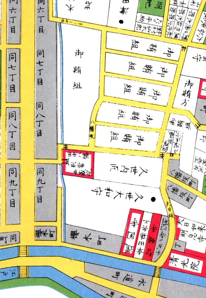 古地図:八幡坂周辺(嘉永七年(1854年)尾張屋刊 江戸切絵図)