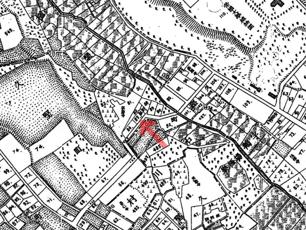 古地図:明治20年(1887年)東京実測図より小石川久堅町八拾五番地(クリックで拡大)。