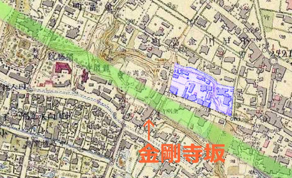 明治7-17年5千分の1東京図測量原図より(金剛寺坂)