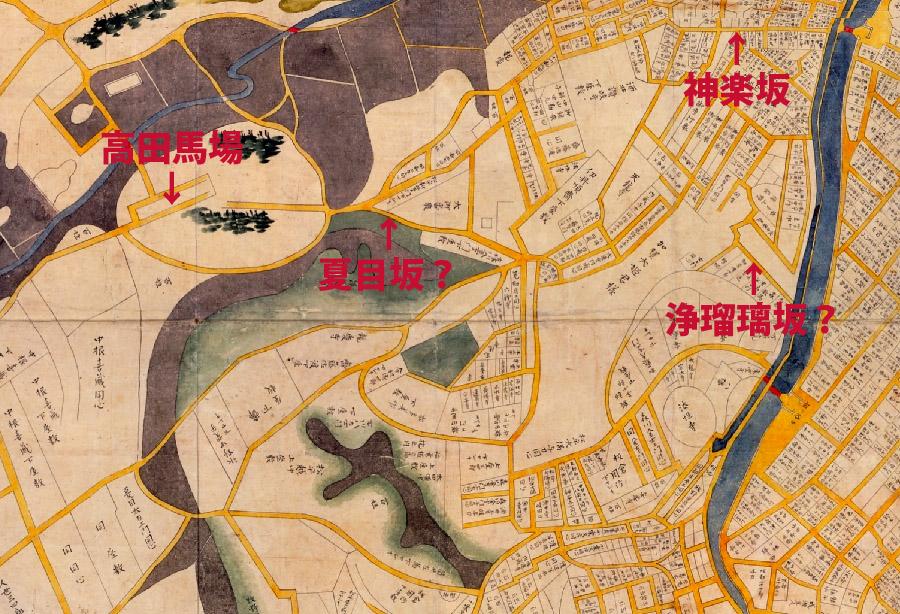 古地図:正保年中(1645-1648年)江戸絵図(市ヶ谷牛込)