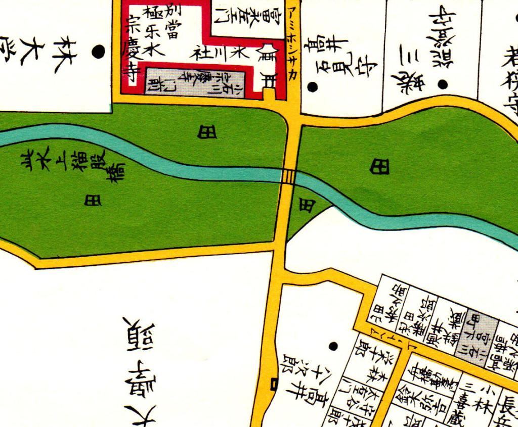 網干坂(嘉永七年1854年尾張屋刊江戸切絵図より)