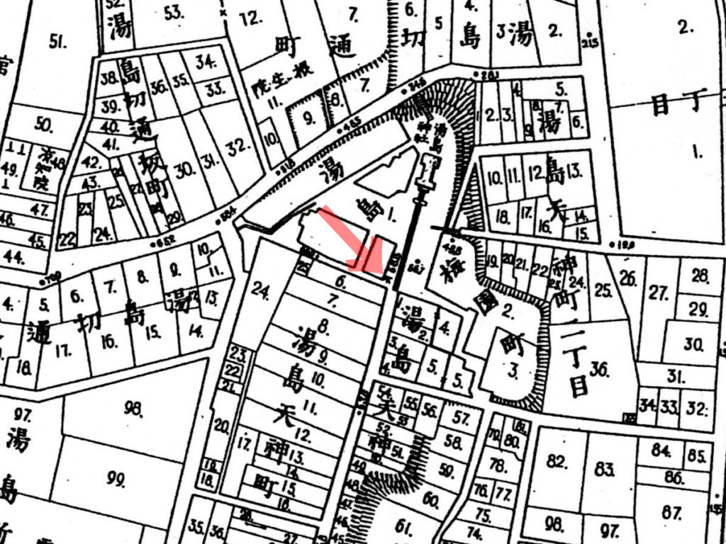 古地図:明治20年(1887年)東京実測図より湯島天神。