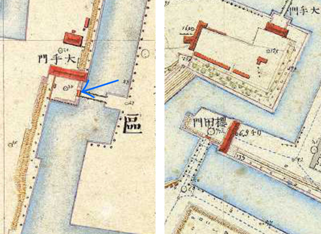 明治9-17年(1876-84年)5千分の1東京図測量原図より桜田門と大手門