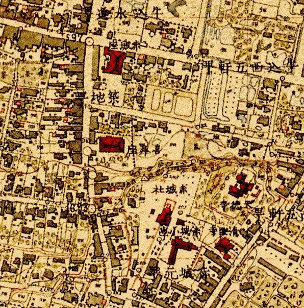 古地図:明治9-17年(1876-84年)5千分の1東京図測量原図より赤城坂周辺