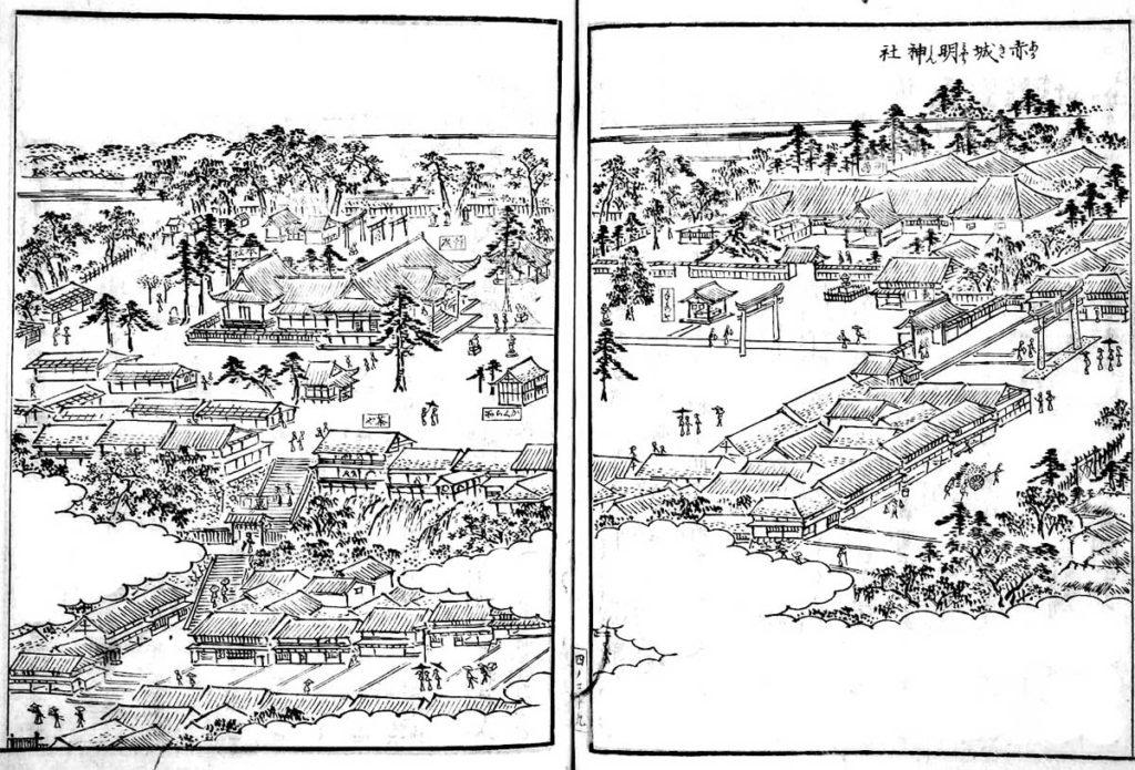 江戸名所図会(赤城神社)クリックで拡大。