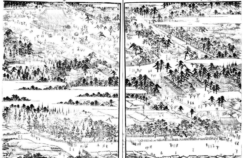 護国寺(江戸名所図会)。塔は描かれていません。