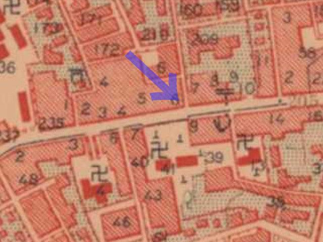 三人書房の位置(大正5-10年 陸地測量部2万5千分の1地形図