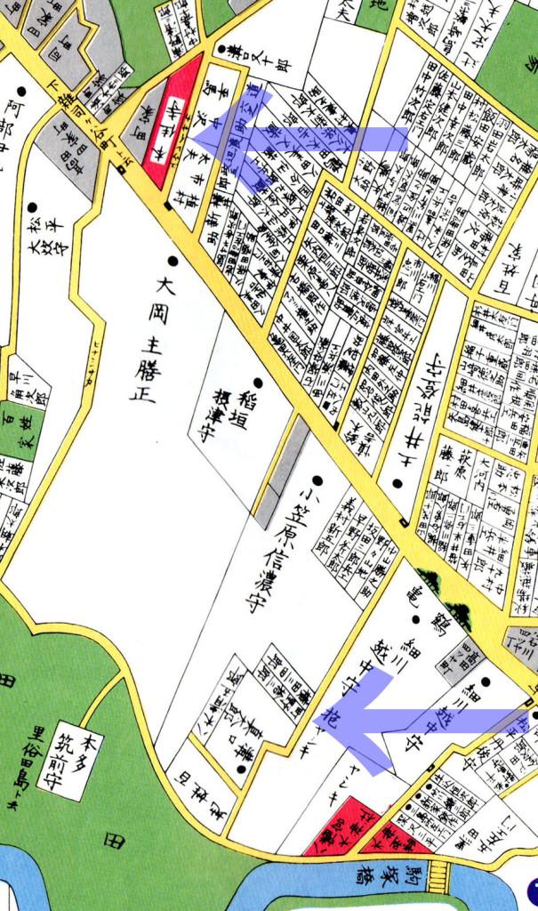 嘉永七年1854年尾張屋刊江戸切絵図より二つの幽霊坂