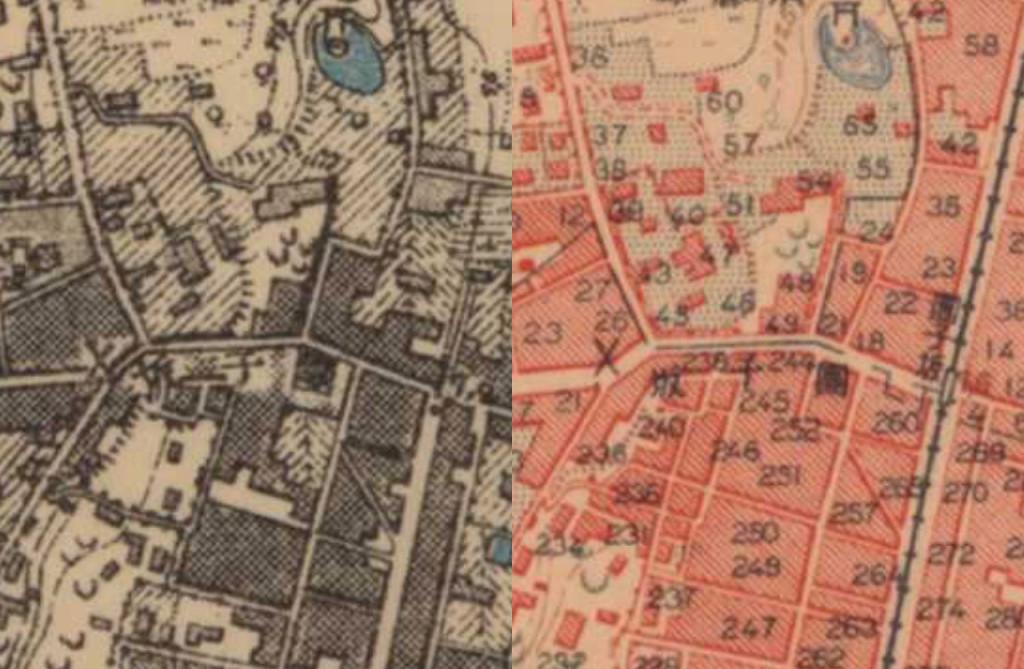 明治末の地図と大正の地図