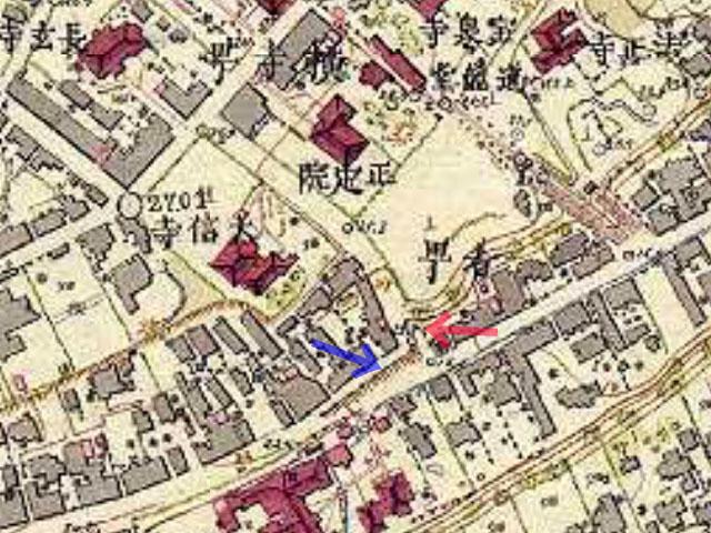 古地図:明治初期の五味坂 明治9-17年(1876-84年)5千分の1東京図測量原図より