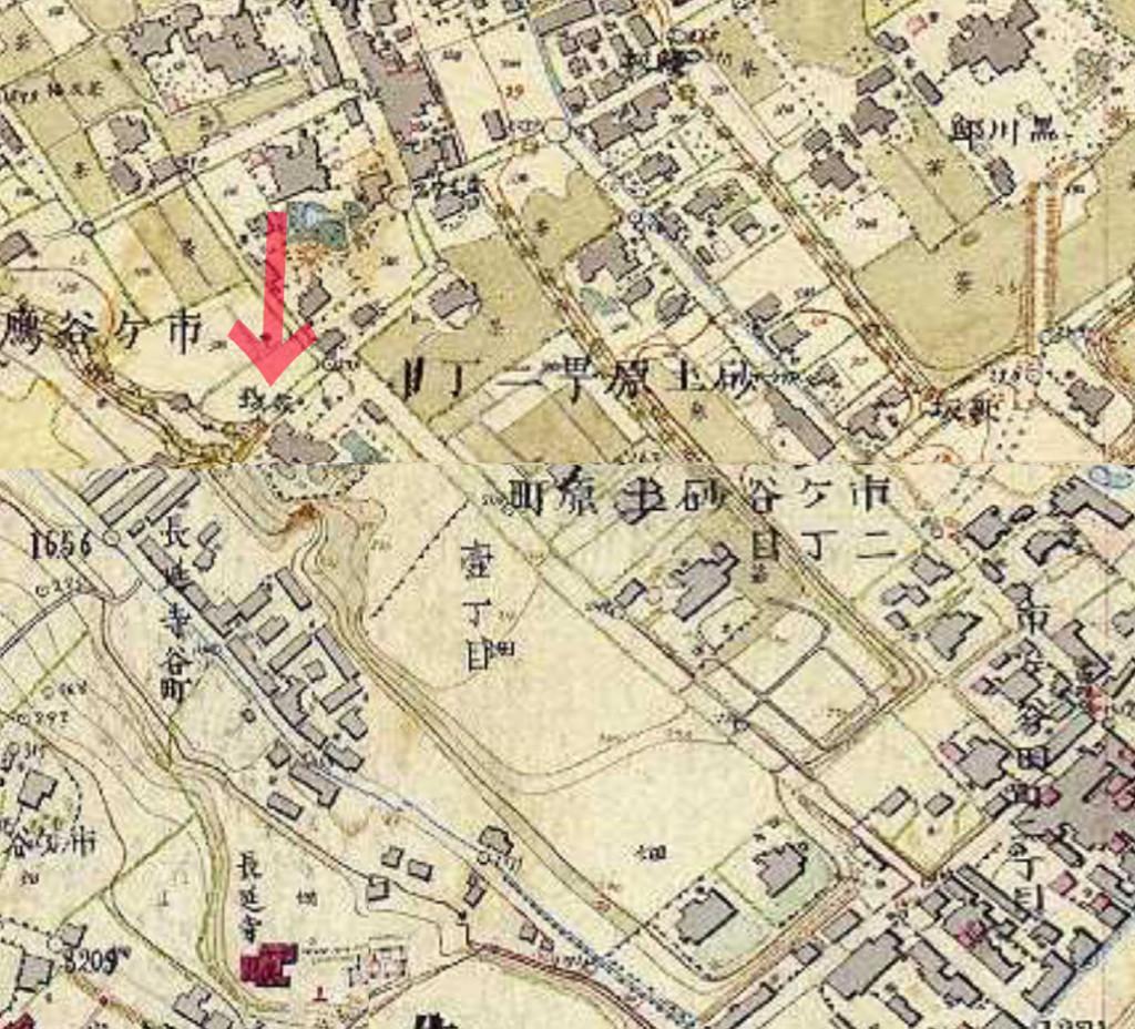 古地図:明治9-17年(1876-84年)5千分の1東京図測量原図より芥坂