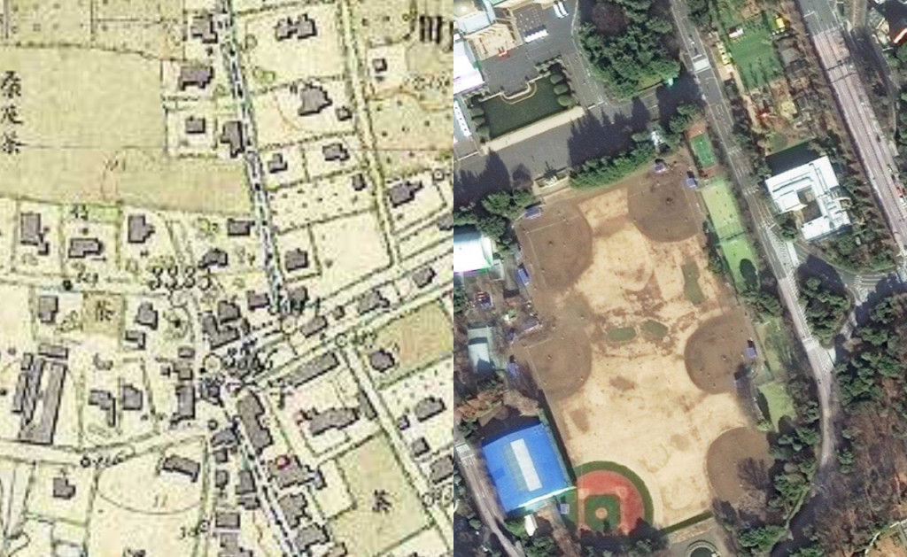 中央が六道の辻。明治9-17年(1876-84年)5千分の1東京図測量原図と今の比較