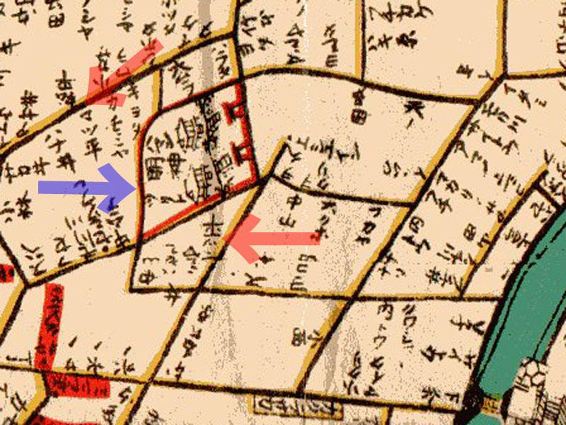 古地図:御殿坂:明和江戸図(1771年)より