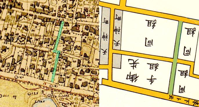 古地図:左:明治9-17年(1876-84年)5千分の1東京図測量原図より 明治41-42年1万分の1測図 右:嘉永七年1854年尾張屋刊江戸切絵図より