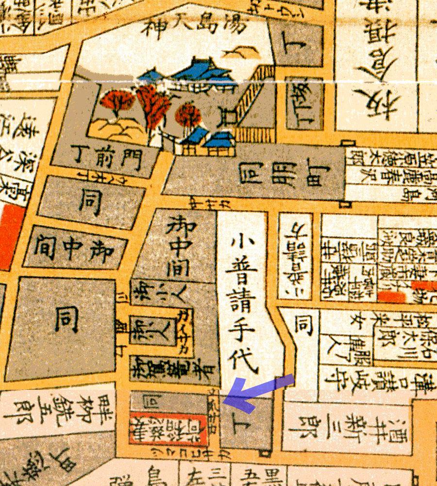 立爪坂(嘉永七年1854年尾張屋刊江戸切絵図より)