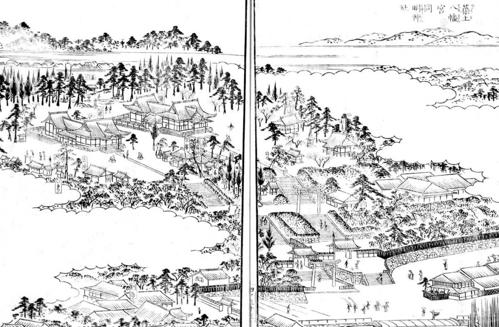 筑土八幡と筑土明神:江戸名所図絵より(クリックで拡大)