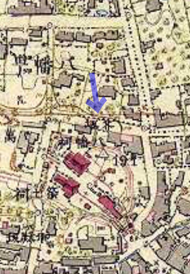 芥坂(明治9-17年(1876-84年)5千分の1東京図測量原図より)
