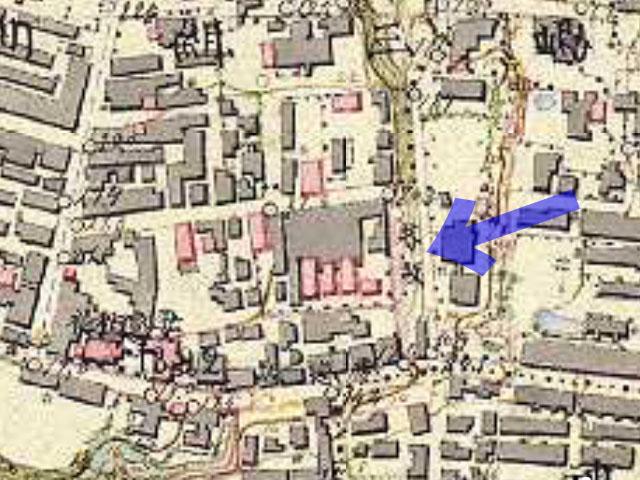 芥坂。明治9-17年(1876-84年)5千分の1東京図測量原図より。