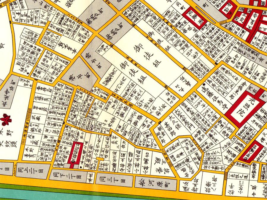 古地図:御徒組(嘉永七年(1854年)安政四丁巳年)