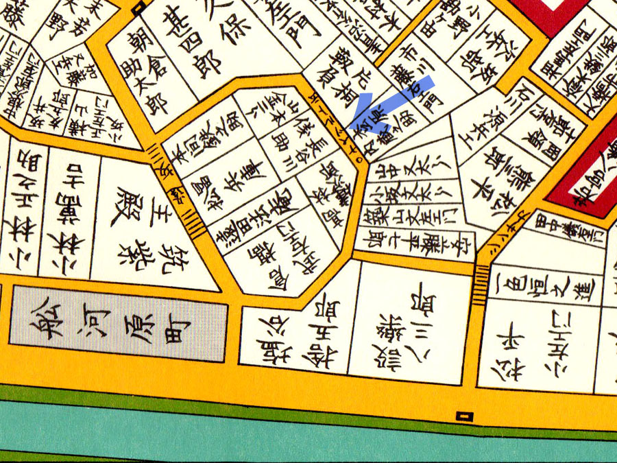 古地図:嘉永七年(1854年)尾張屋刊 江戸切絵図よりナベヅル