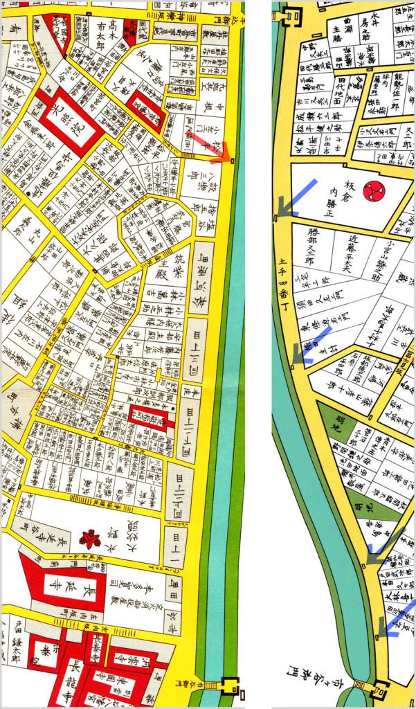 古地図:幕末の番所の比較 神楽坂側と富士見側