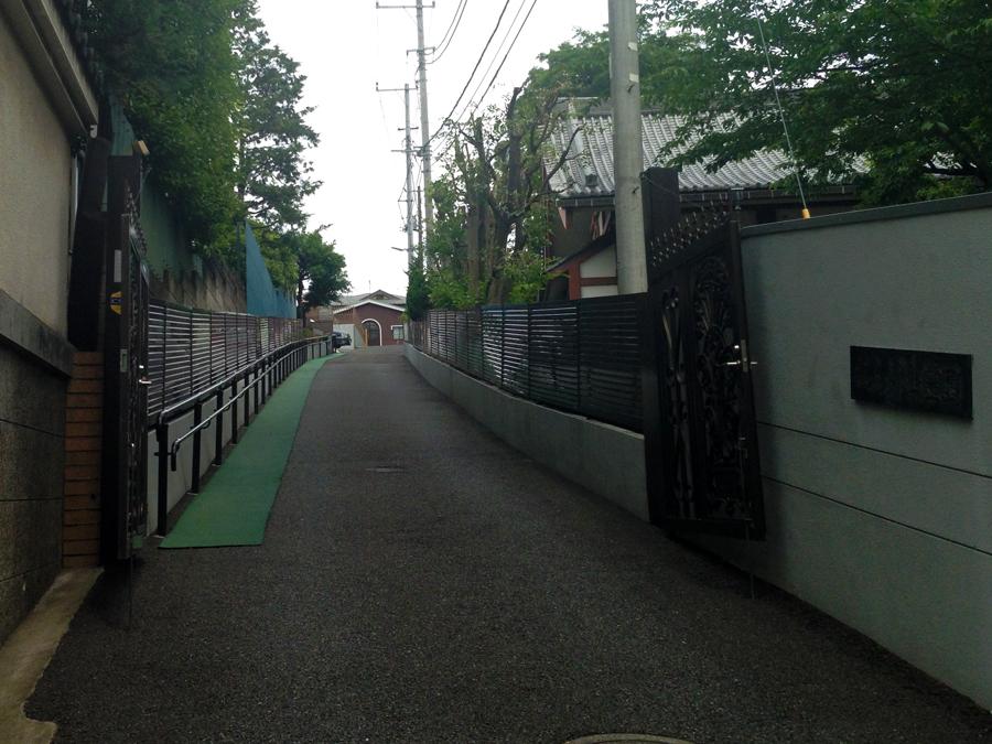 今は霊園の入口。かつての氷川明神社参道。