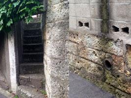 細い階段と排水口