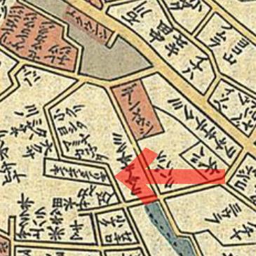 キリシタン屋敷(天保十四年(1843年)岡田屋 御江戸大絵図)