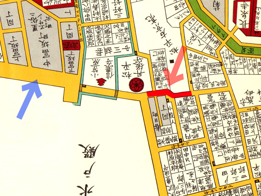 嘉永七年(1854年)尾張屋刊江戸切絵図より東富坂