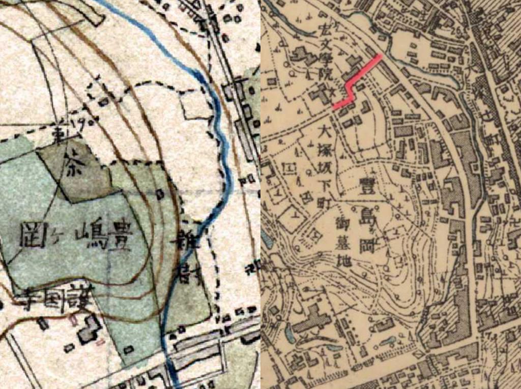 左:明治9-17年(1876-84年)5千分の1東京図測量原図より 右:明治41-42年1万分の1測図