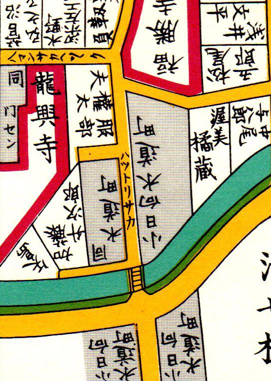 嘉永七年(1854年)尾張屋刊江戸切絵図より服部坂、服部権太夫