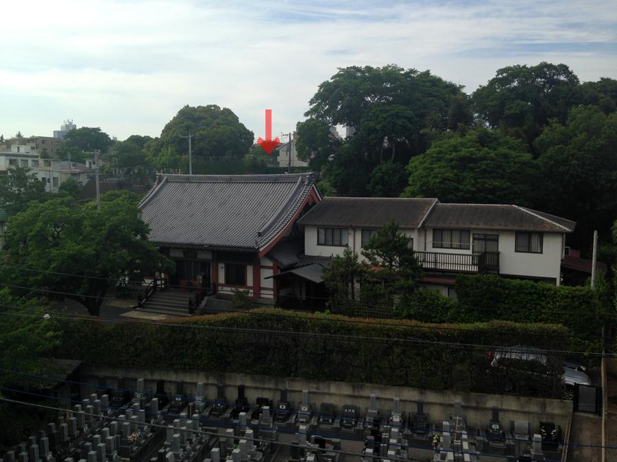 日輪寺。赤矢印あたりが氷川明神社があった場所。