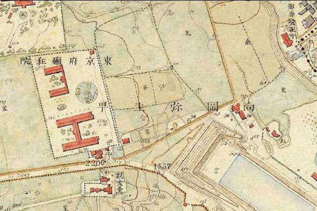 明治9-17年(1876-84年)5千分の1東京図測量原図より東京府癲狂院