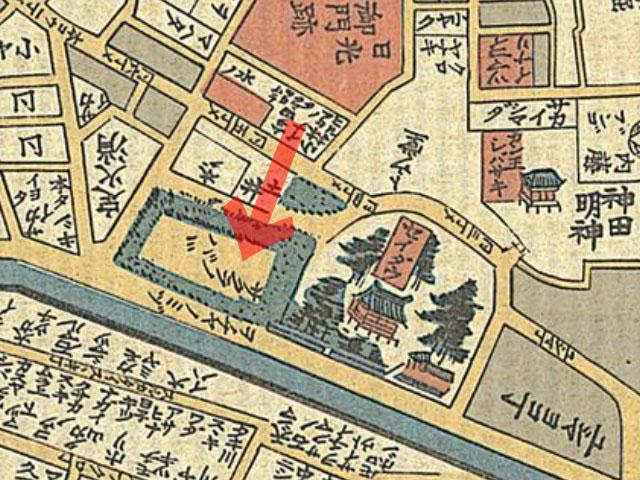 天保十四年(1843年)岡田屋 御江戸大絵図よりサクラノババ