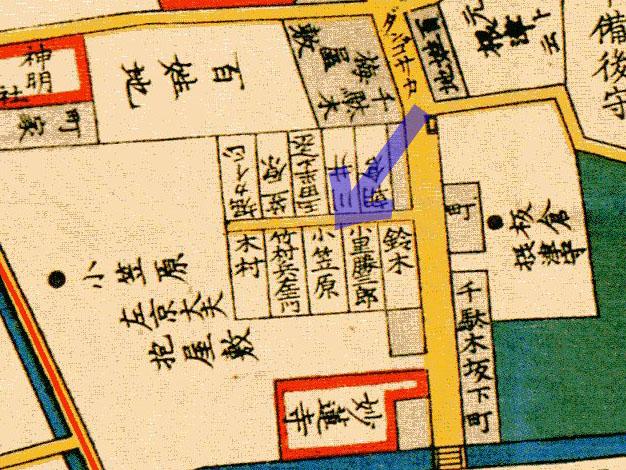 安政3年(1856年)根岸谷中日暮里豊島辺図より小笠原