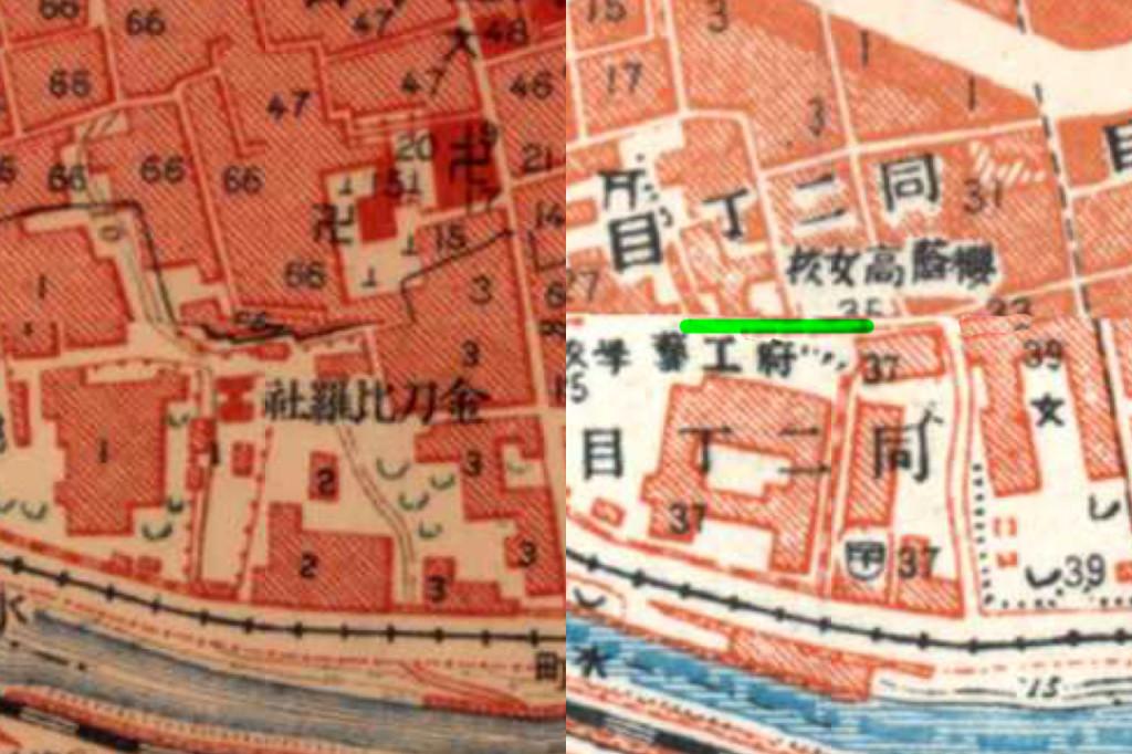 左:大正5-10年(1917-21年)陸地測量部2万5千分の1地形図 右:昭和3-11年(1928-36年)1万分の1地形図