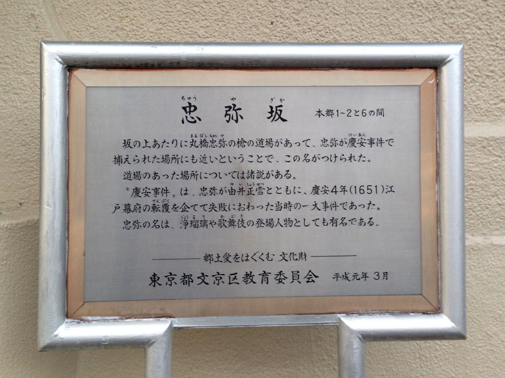 忠弥坂坂道説明板